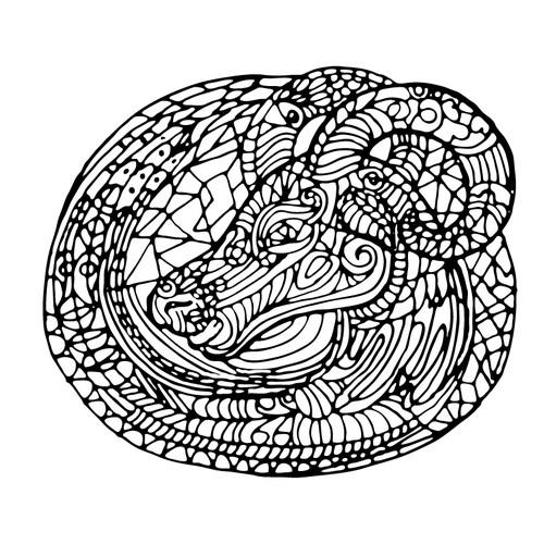 zentangle style aries illustration
