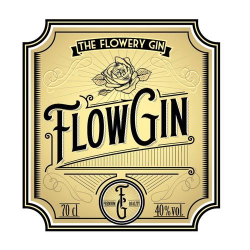 Vintage gin label