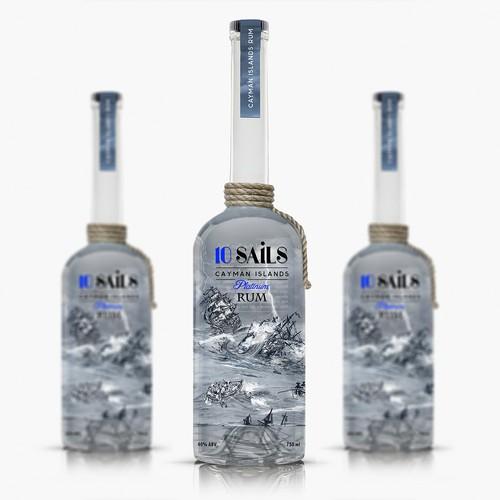 10 Sails Rum Bottle Label