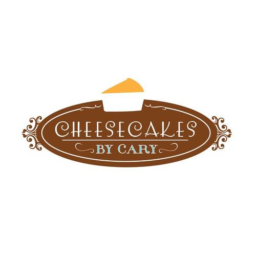 Elegant Cheesecake Logo Design (in Brown)