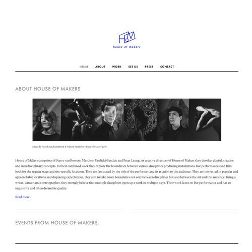 Squarespace website for professional dance group