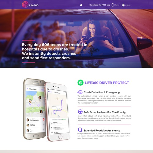 Landing page for Life360