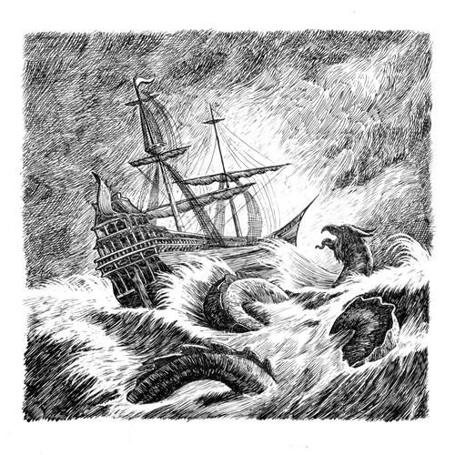 ink drawing old engraving style illustration