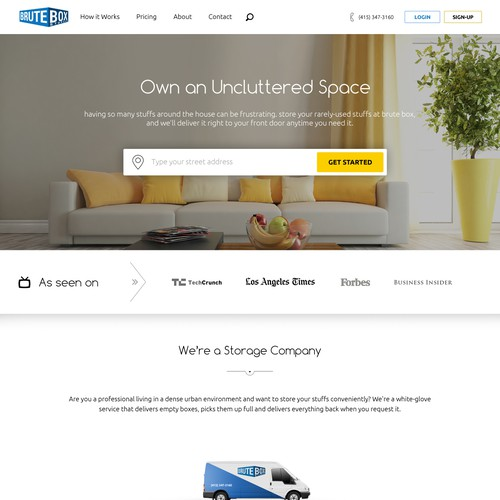 Light Website Design for a Storage Company