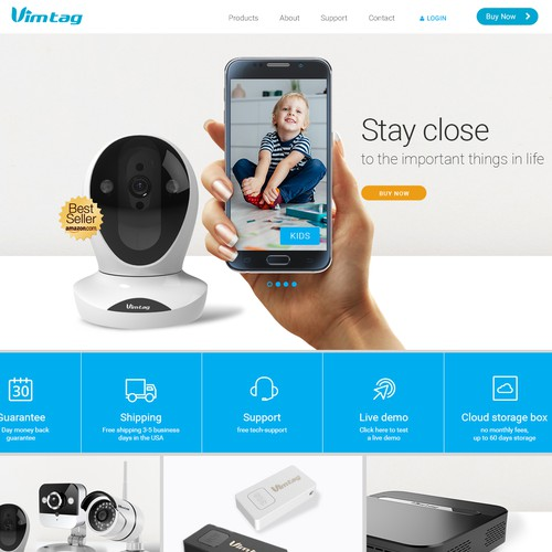 Clean, modern design for home camera