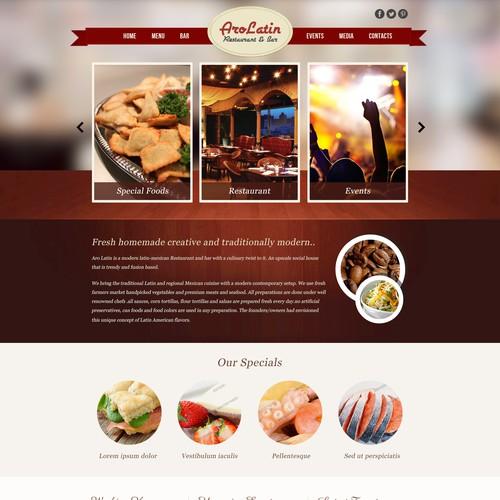 Create the next website design for AroLatin Restaurant & Bar