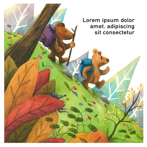 Book illustration - bears hiking trip