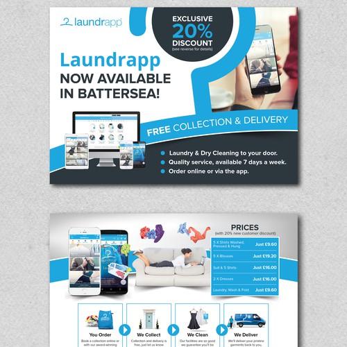 Postcard design for laundrapp