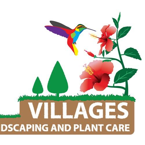 Hummingbird landscaping logo design