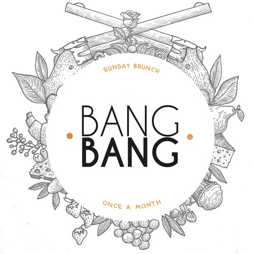Create a beautiful design for an LA restaurant pop up featuring brunch, called BANG BANG