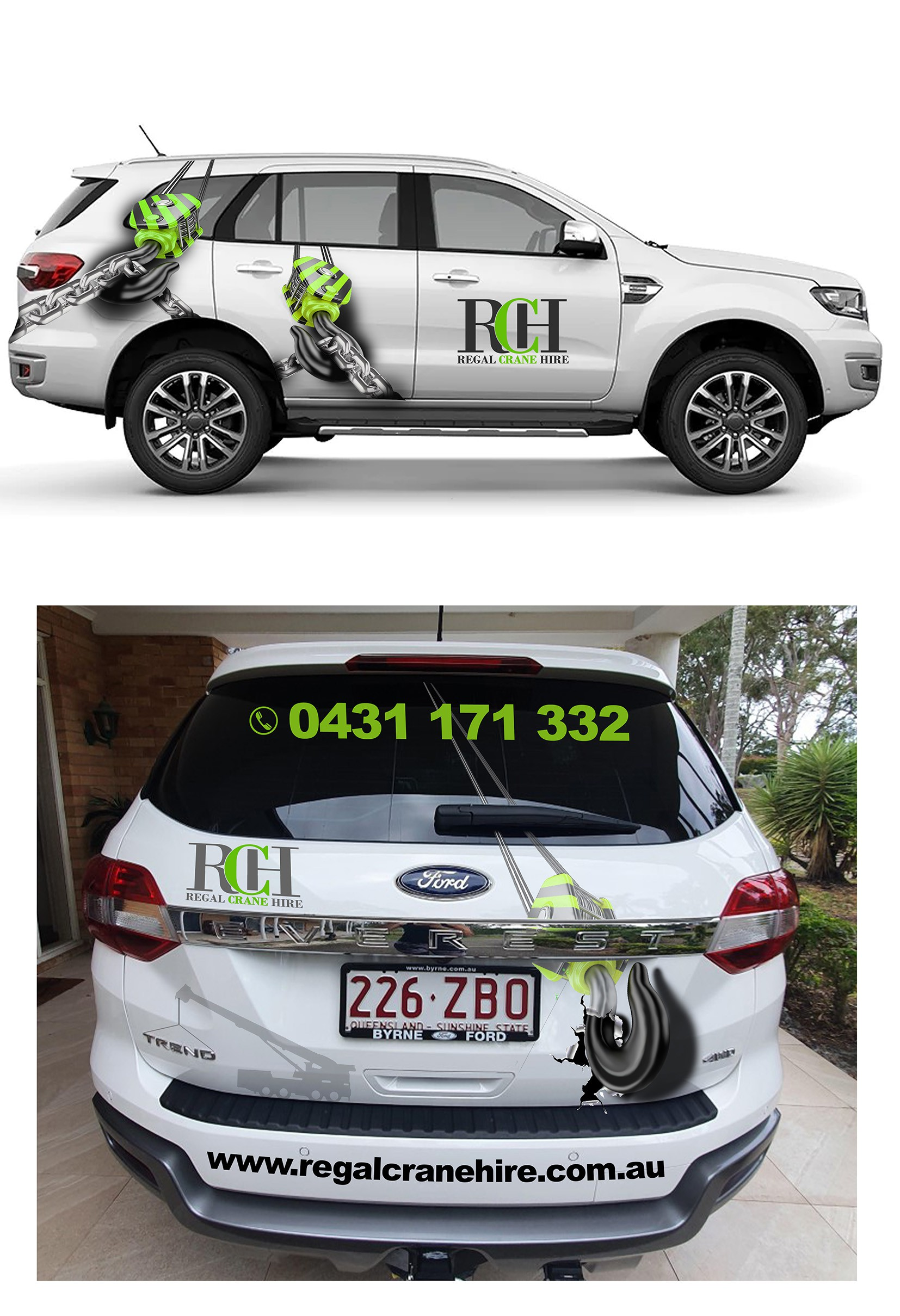Half car wrap for the boss's wife's car of a crane company