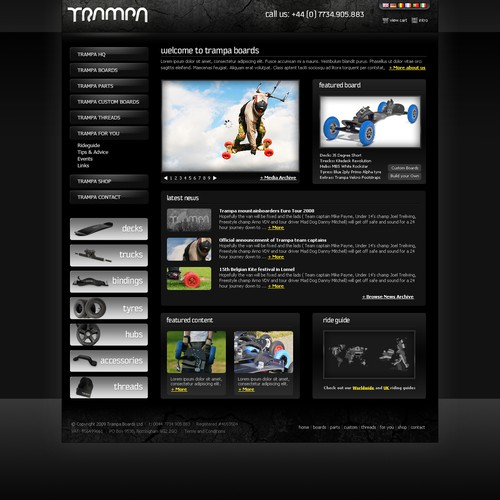 Trampa Custom Boards requires homepage + product page