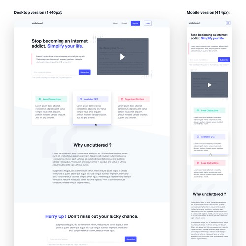 Simple and Clean landing page design