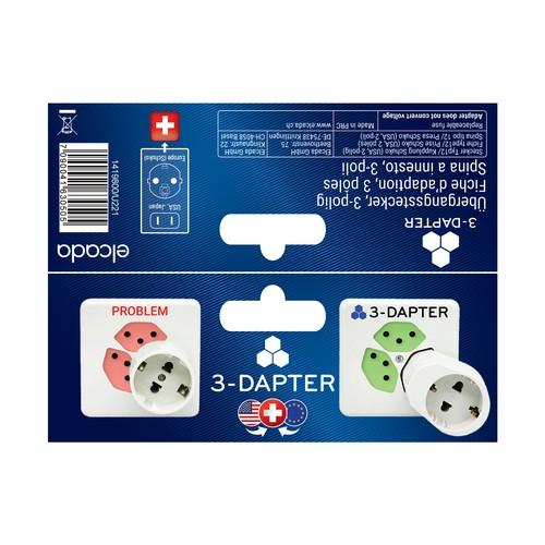 Packaging design for innovative adapter plug for Switzerland