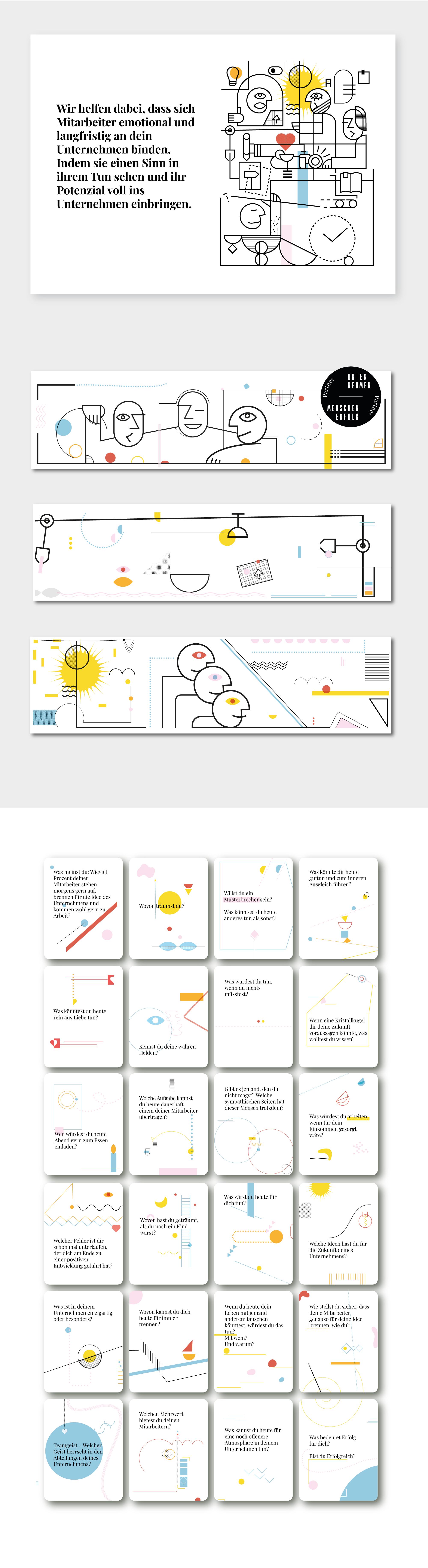 Fragekarten + Grafiken Website + Icons Infografik