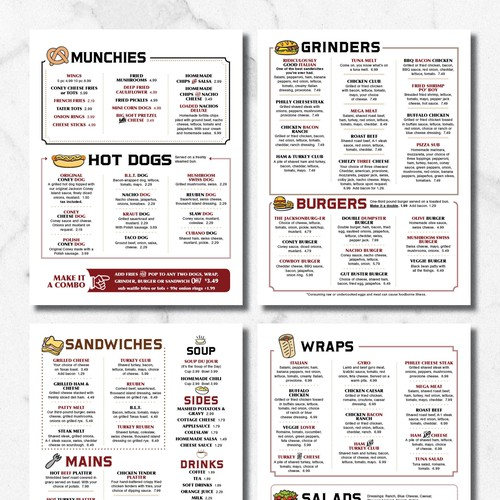 Casual and Fun Diner Menu