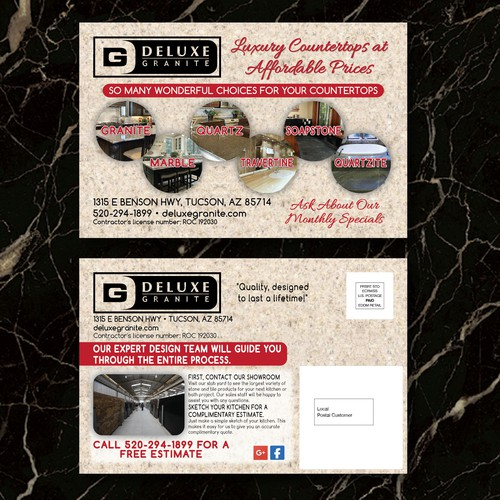 Postcard for stone surfaces company
