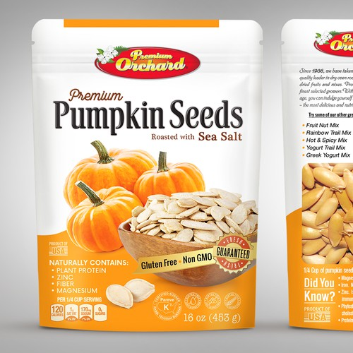 Premium Pumpkin Seeds, packaging design
