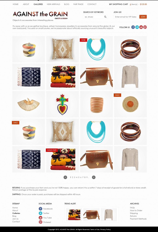 website design for AGAINST THE GRAIN objects & design
