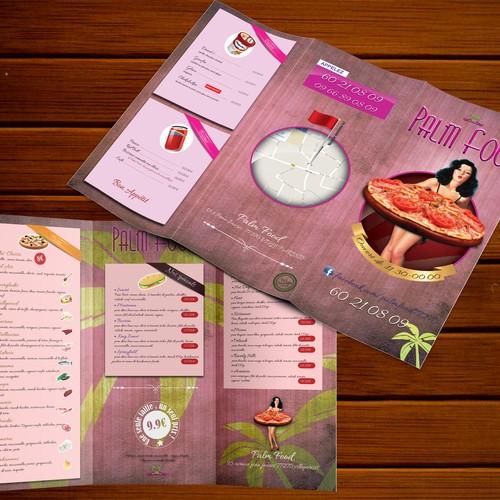 créer un prospectus thème vintage pour fast food et pizzeria.