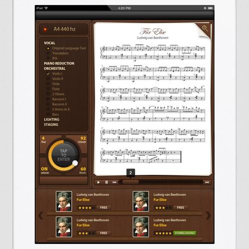Award + additional work: iPad music notation wireframe -> eye-popping screenshot!!