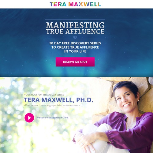 Landing page design for Tera Maxwell