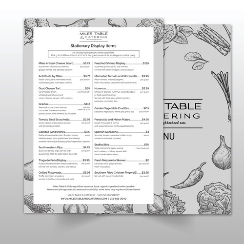 Menu Concept for Miles Table & Catering
