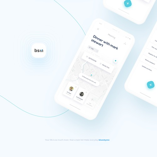 Clean and modern design for blueskyme mobile app