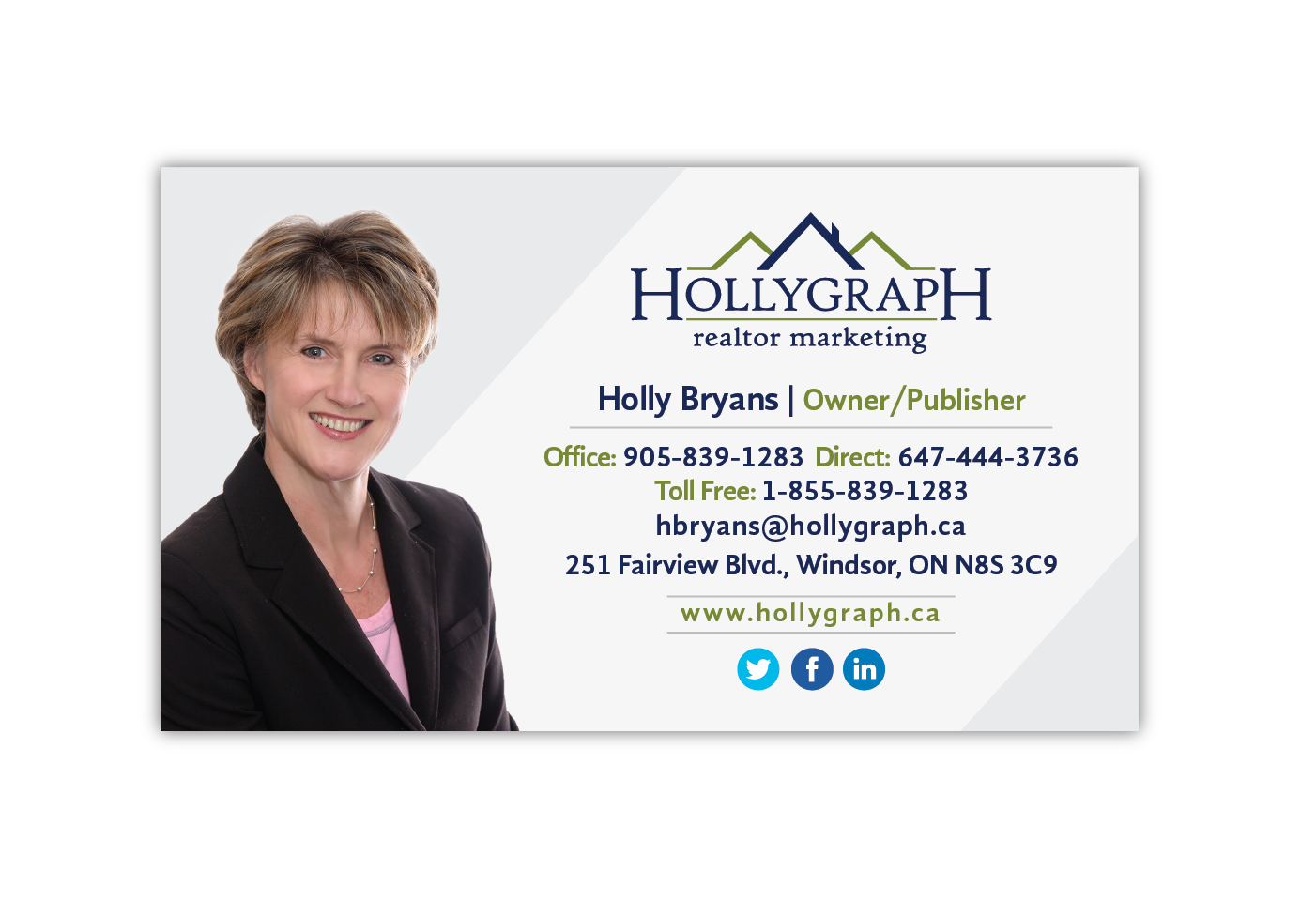 Holly Bryans business card