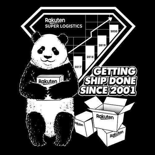 Panda with package box