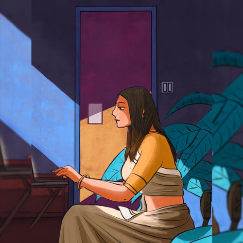 Illustration for a client showing lockdown home office.