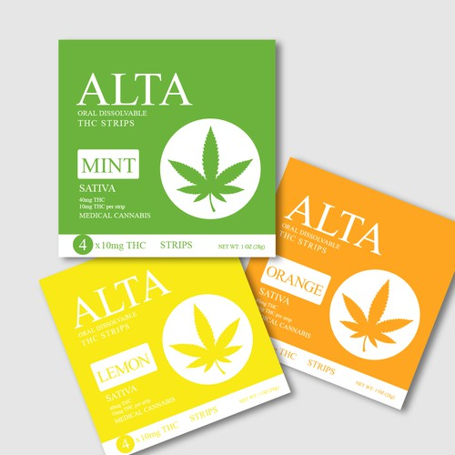 packaging design of oral dissolvable THC/CBD strips.