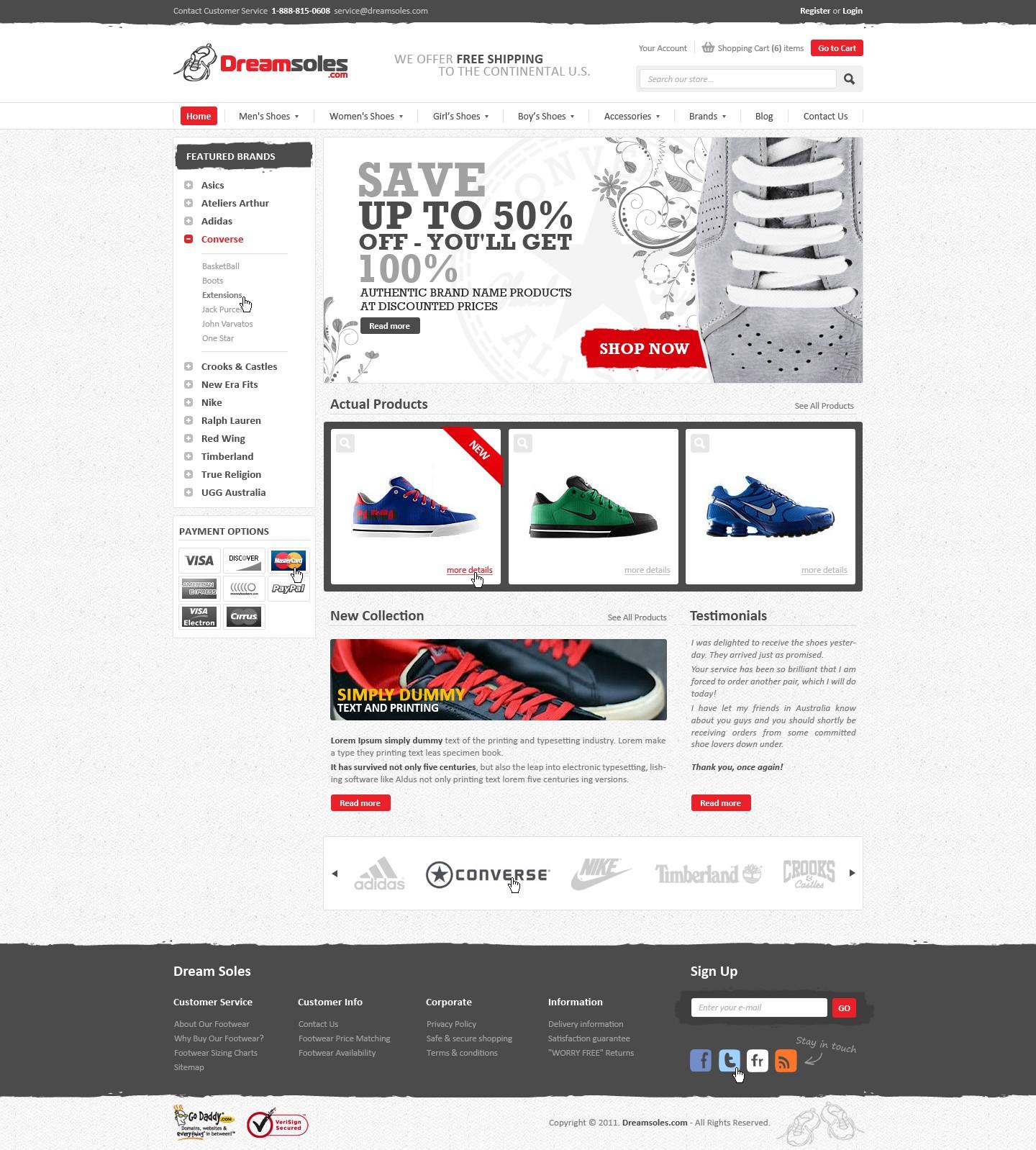 Help Dreamsoles.com LLC with a new website design