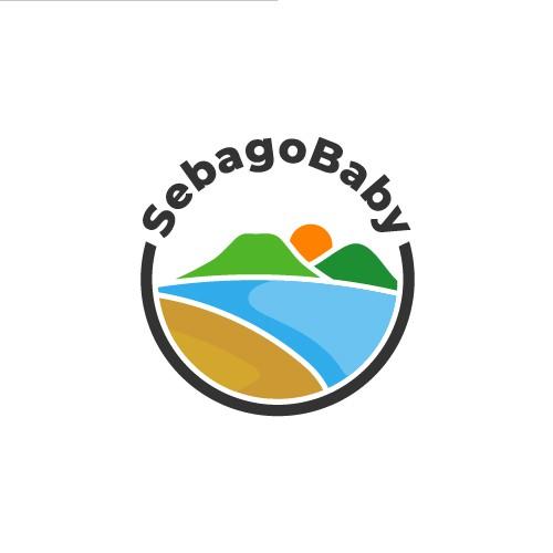 beach with mountains and sun logo design concept