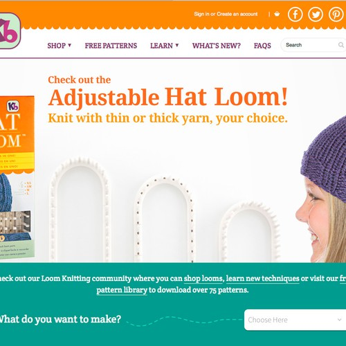 Create a website banner for knitting site.