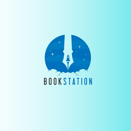 Create a space opera-esque logo for Book Station