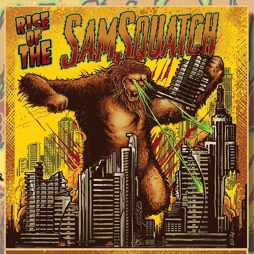 Create a monster movie poster for Samsquatch's next CD album artwork
