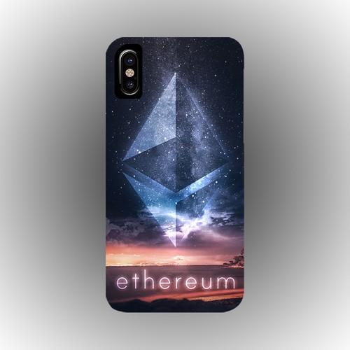 Phone case design featuring the ethereum logo
