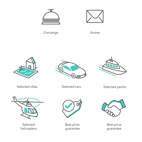 Pack of icons for a luxury travel site