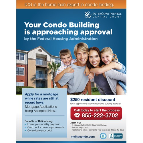 Create a sleek Condo flyer for Intercontinental Capital
