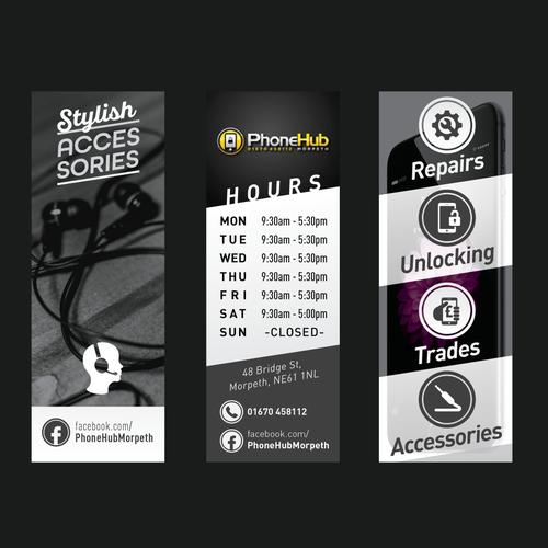 bold window signage design for PhoneHub