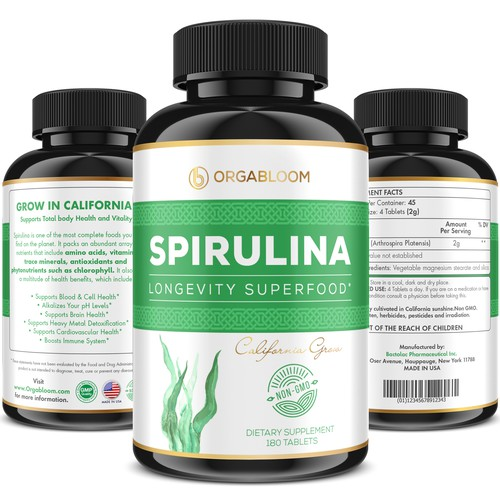 Spirulina Supplement label for ORGABLOOM