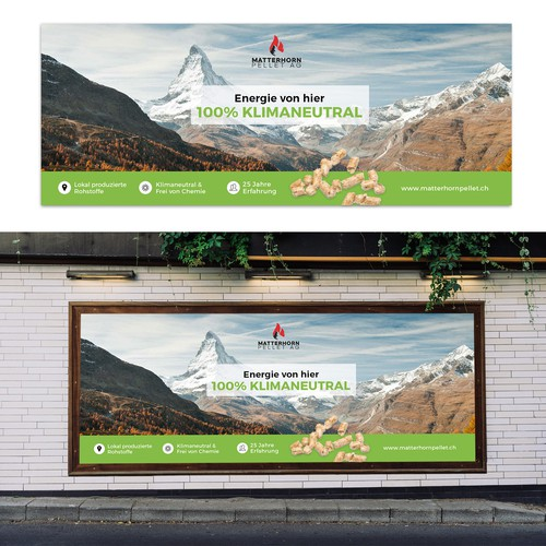 Layout proposal for a billboard sign for a wood pellet production company in Switzerland
