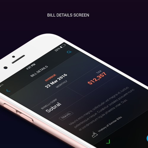 Dark theme UI for bill organizer app