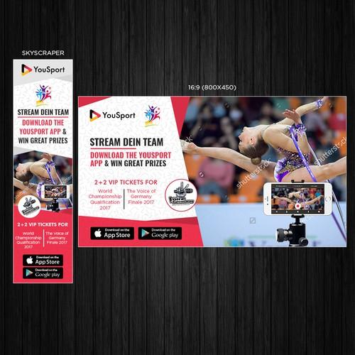 Banner ads design for YouSport video app