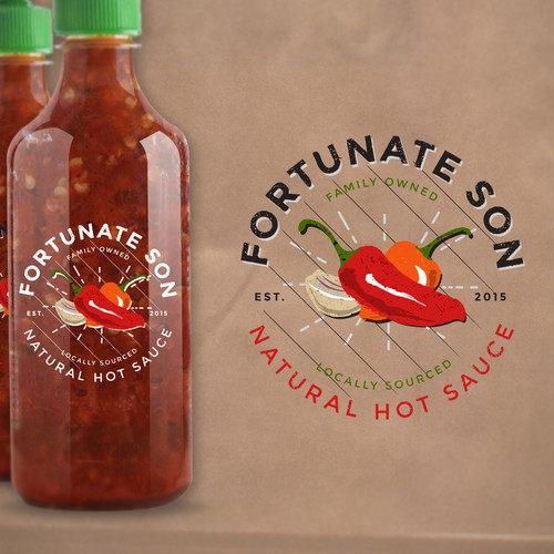 Create a distictive logo for Fortunate Son Hot Sauce, a locally sourced, all natural, family owned company