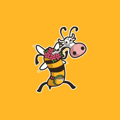 Bee Cow logo mascot for milk honey ice cream company