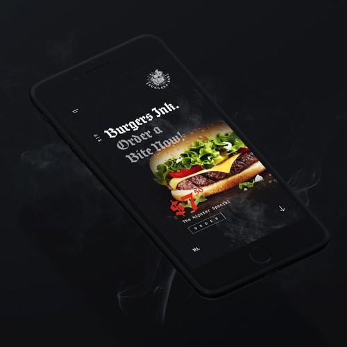 Burger Ink. Mobile Landing Page