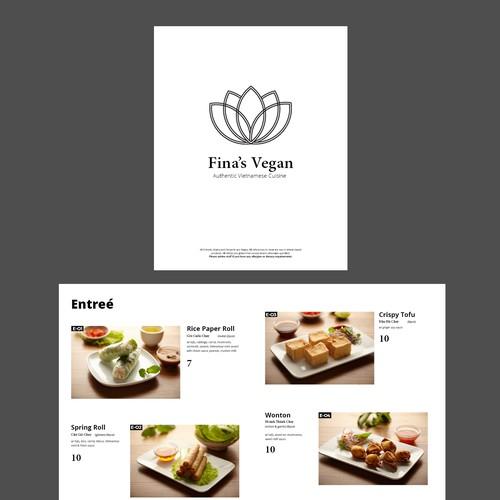 A menu design for a vegan Vietnamese restaurant,