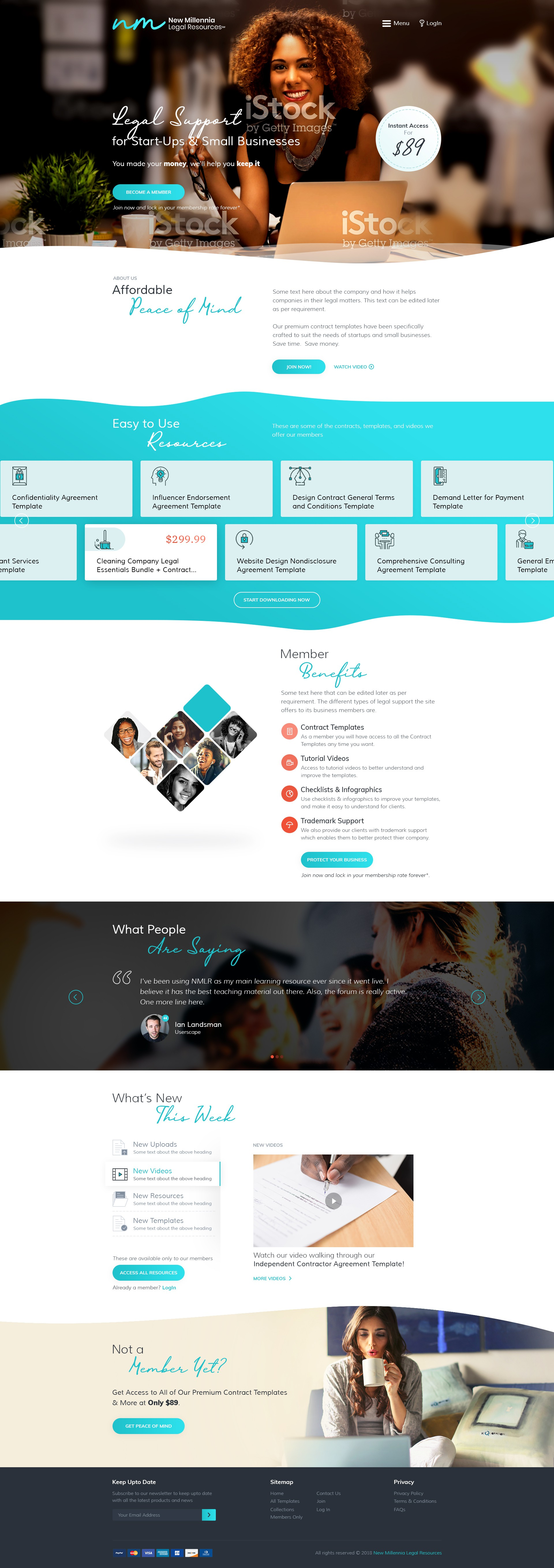 Design an elegant, sophisticated, & modern legal membership webpage